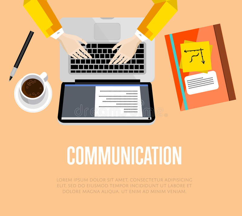 Communication concept. Top view office workspace. Vector illustration. Business workplace with human hands, laptop, paperwork and coffee cup on table. Business stock illustration