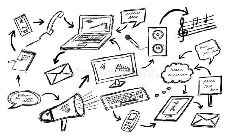 Communication concept on white background. Communication concept drawn on a white background vector illustration