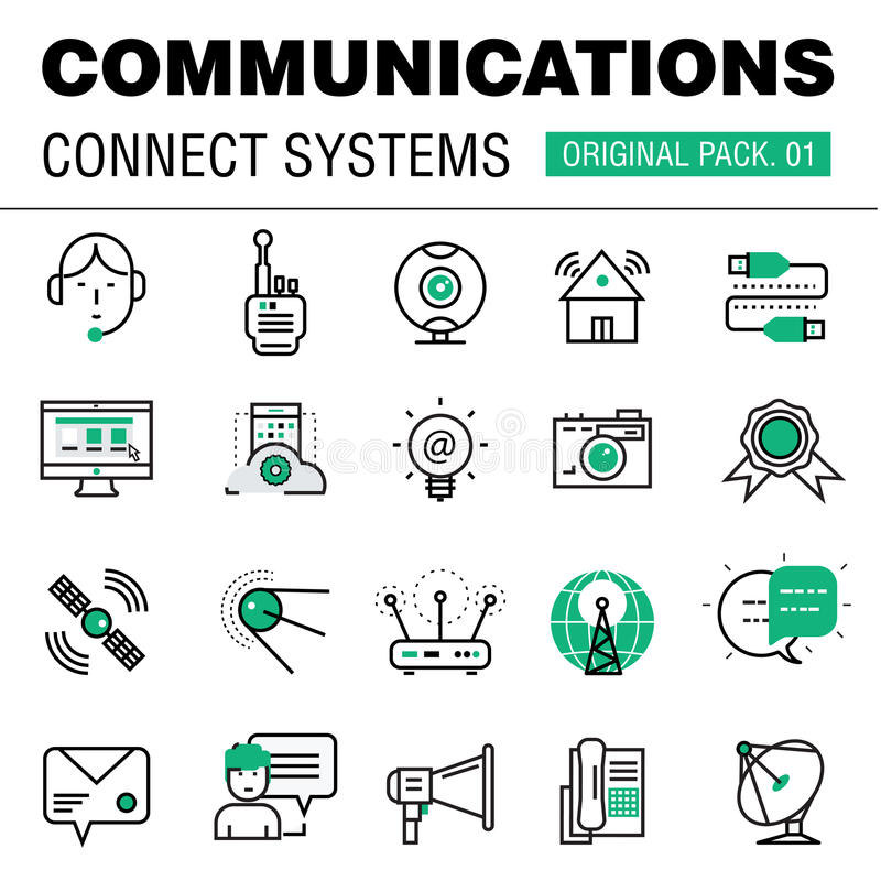 Communication connect social technology pack. Modern thin media line icons. Professional production in business elements of conversation. High quality symbol vector illustration