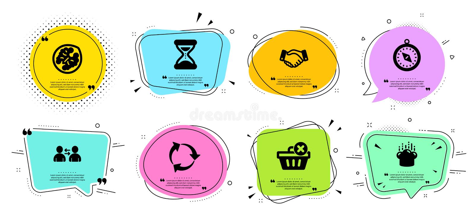 Communication, Cooking hat and Time icons set. Delete purchase, Walnut and Employees handshake signs. Vector. Communication, Cooking hat and Time line icons set stock illustration