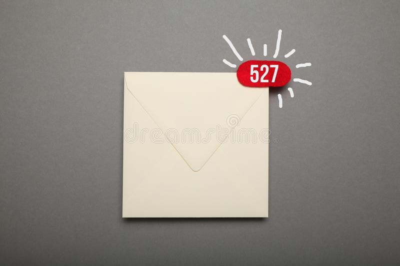 Communication correspondence email, red circle in corner. Exclamation, important envelope.  royalty free stock photography