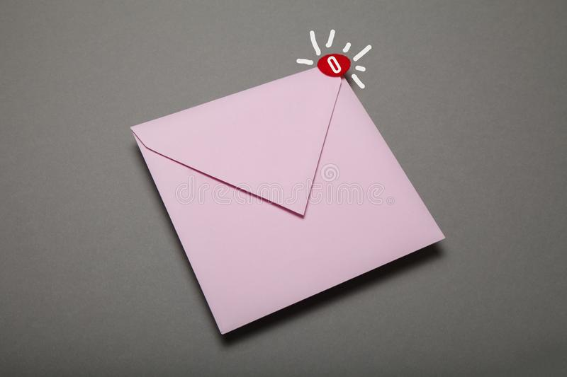 Communication correspondence email, red circle in corner. Exclamation, important envelope.  stock image