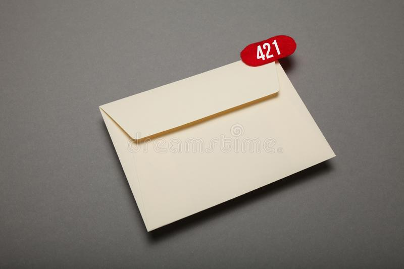 Communication correspondence email, red circle in corner. Exclamation, important envelope.  stock photography
