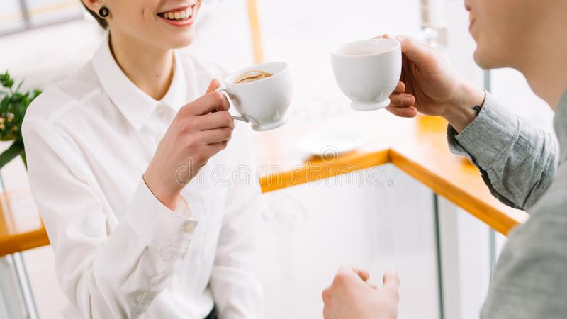 Communication coworker friend talk drinking coffee royalty free stock photography