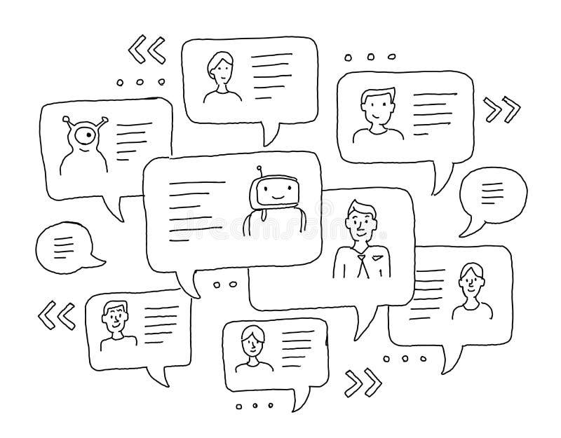Communication d'Internet de messages de causerie Dessin de dessin à main levée de croquis Windows avec des messages Messager, cor illustration libre de droits