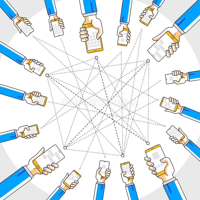 Communication d'Internet et activité, mains de personnes tenant des téléphones et employant des applis, réseau global, communicat illustration libre de droits