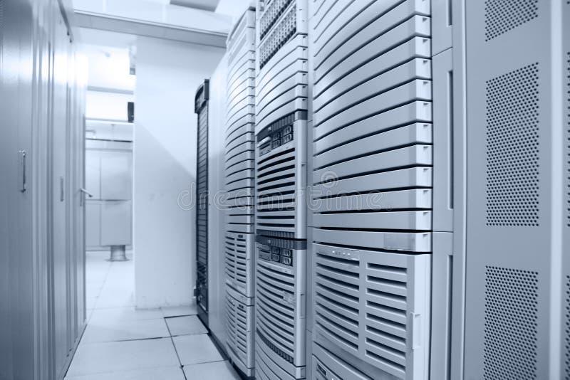 Communication data center. Interior in blue tone stock photos