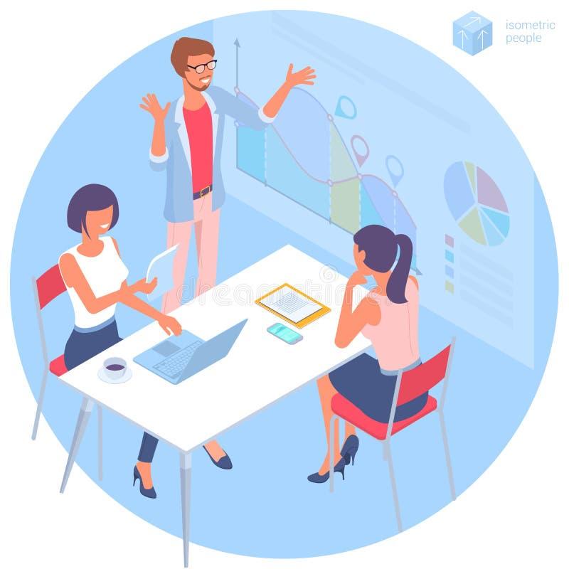 Communication de jeune homme et de femme dans le bureau illustration libre de droits