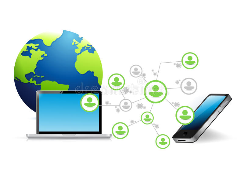 Download Communication De Réseau D'ordinateur Et De Téléphone Illustration Stock - Illustration du mince, moderne: 45358113