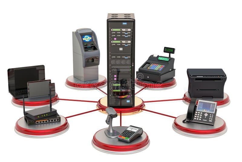 Communication de serveur avec le commerce, les op?rations bancaires et le concept de l'?quipement de bureaux rendu 3d illustration libre de droits