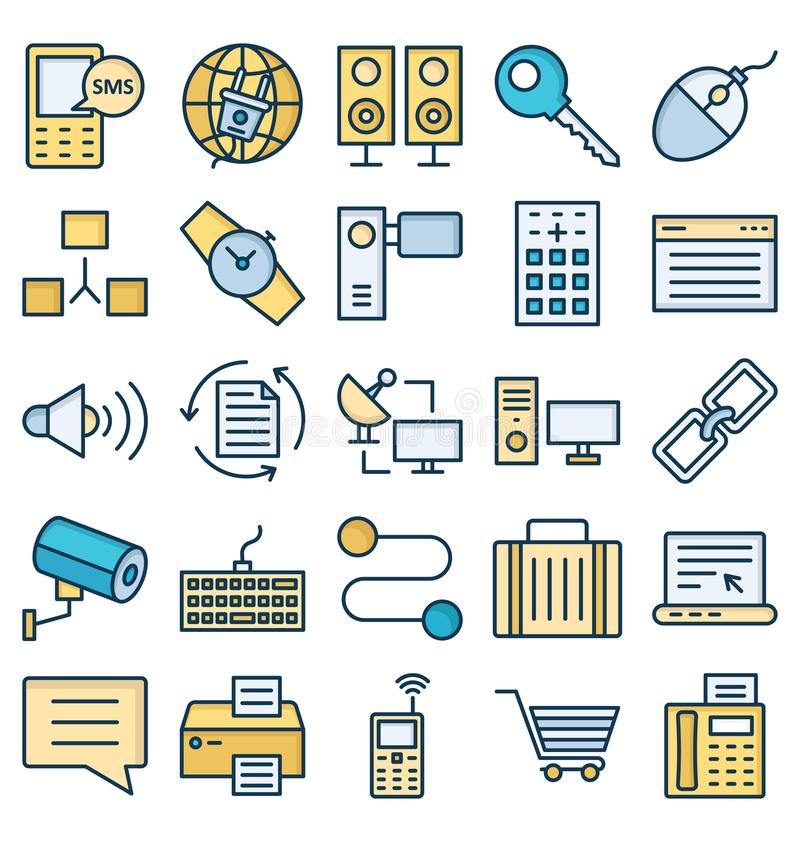 Communication and Digital Devices Isolated Vector Icons set that can be easily modified or edit vector illustration