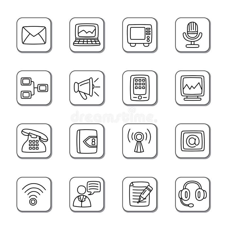 Communication Doodle Icons royalty free illustration