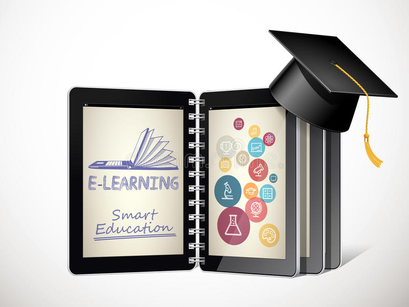 IT Communication - e-learning concept - internet network as knowledge base royalty free illustration