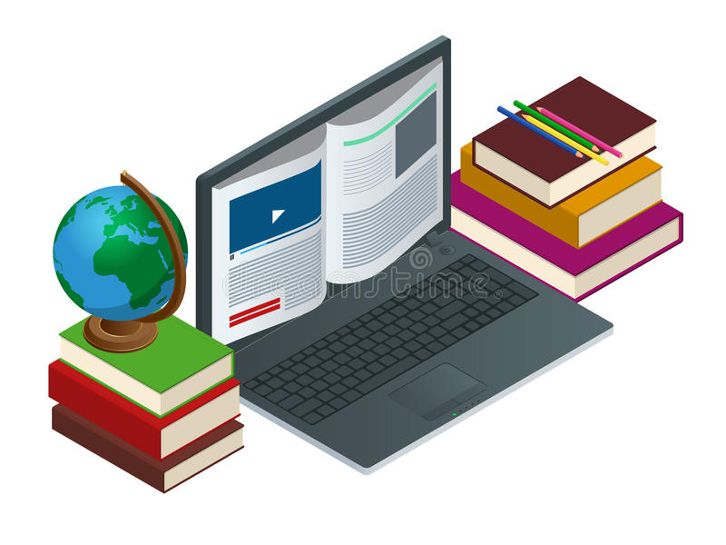 IT Communication or e-learning or internet network as knowledge base concept. Education technology flat illustration royalty free illustration