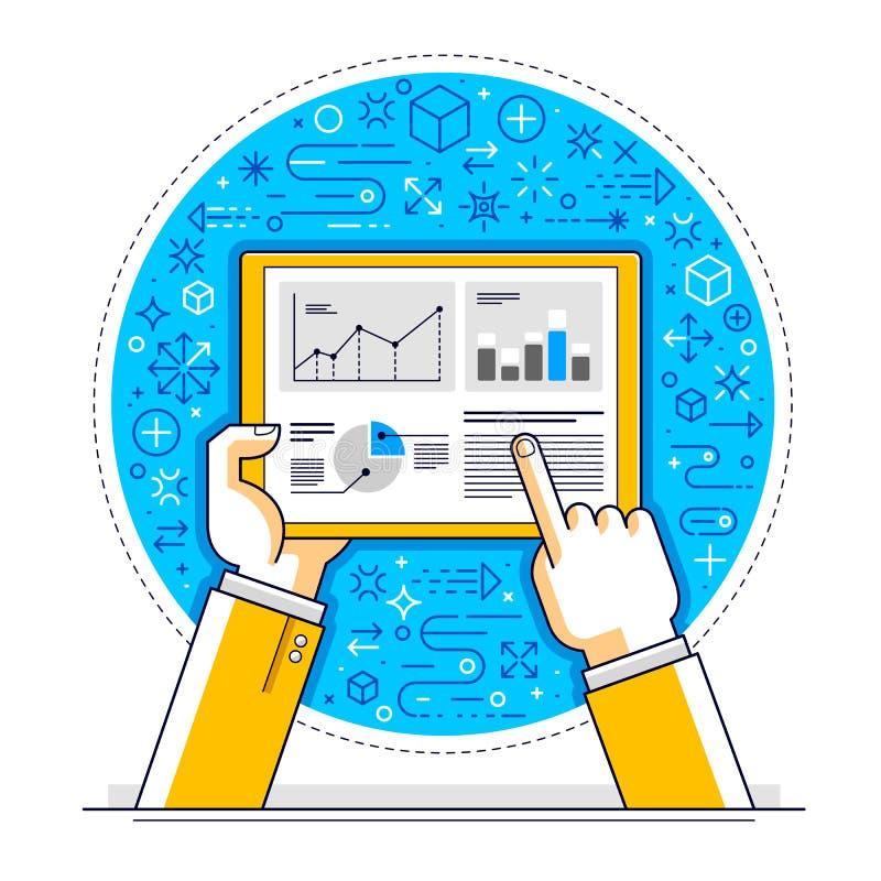 Communication et activité d'Internet, mains d'homme tenant le comprimé et employant des applis, réseau global, communication mode illustration de vecteur