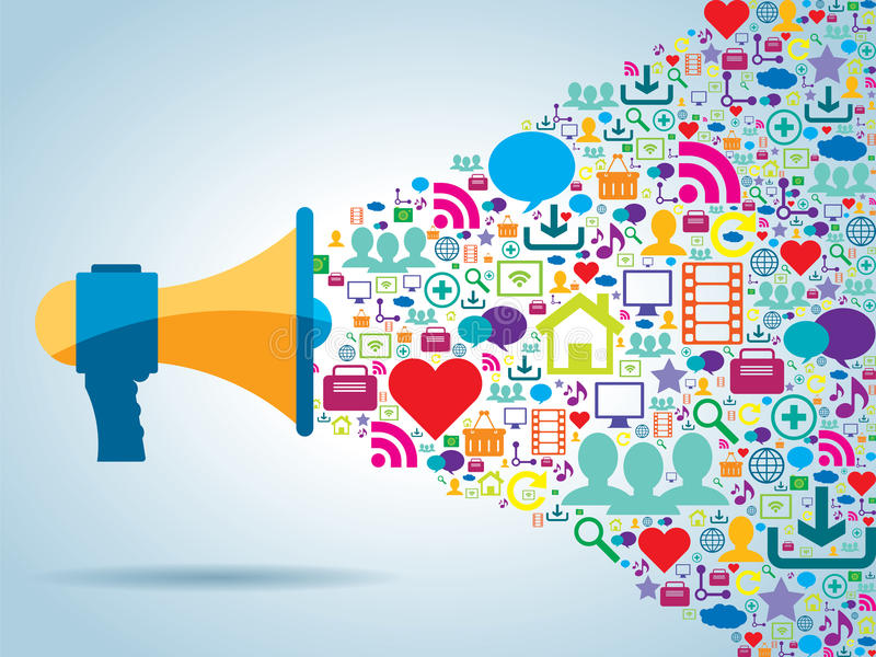 Communication et promotion dans le media social illustration de vecteur