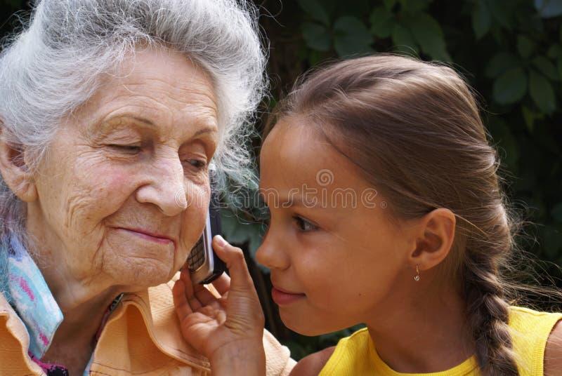 Communication of generations stock photos