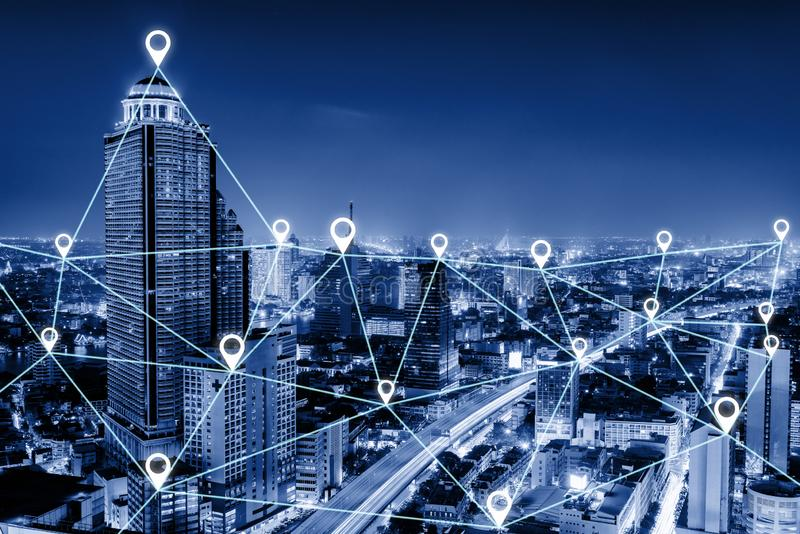 Communication GPS Connectivity Network Intelligent System Concept, Data Searching and Social Location GPS Pin Application With stock photography