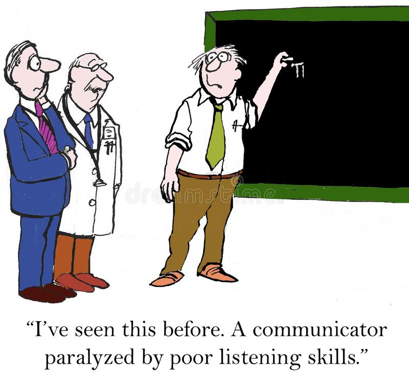 Communication. I've seen this before. A communicator paralyzed by poor listening skills stock illustration