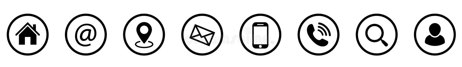 Communication icon set. Phone, mail, search and others - stock vector royalty free stock photography