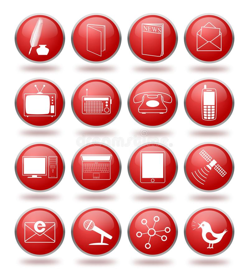 Download Communication Icon Set In Red Spheres Stock Vector - Illustration of icon, email: 21532056