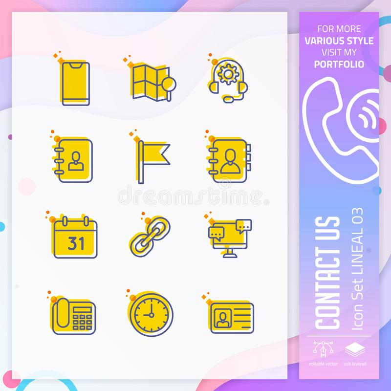 Communication icon set vector with line on simple concept. Contact us icon for website element, app, UI, infographic, print stock illustration