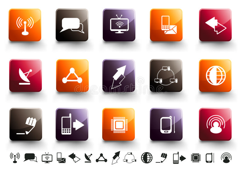 Communication Icon Set | Warm High Gloss vector illustration