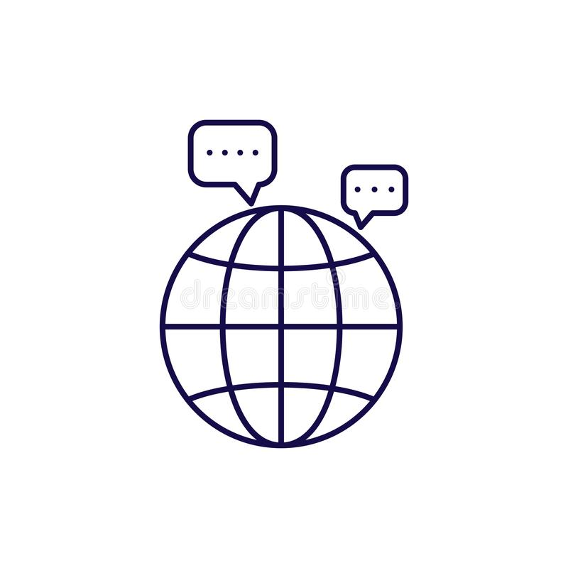 Communication icon vector. Outline style speech bubble and globe. stock illustration
