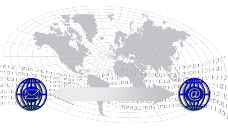 Communication icons. Illustration with hand, world map, binary flow and communication icons vector illustration