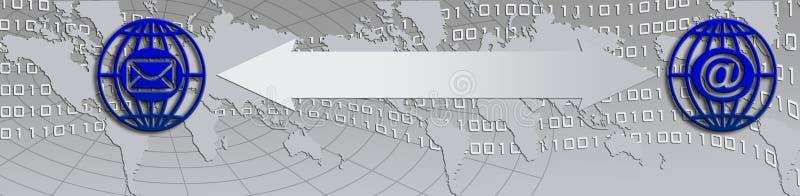 Communication icons. Illustration with hand, world map and binary flow and communication icons stock illustration