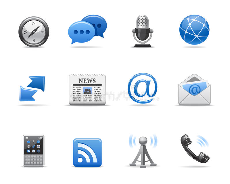 Download Communication icons stock vector. Image of chrome, subscription - 21172321