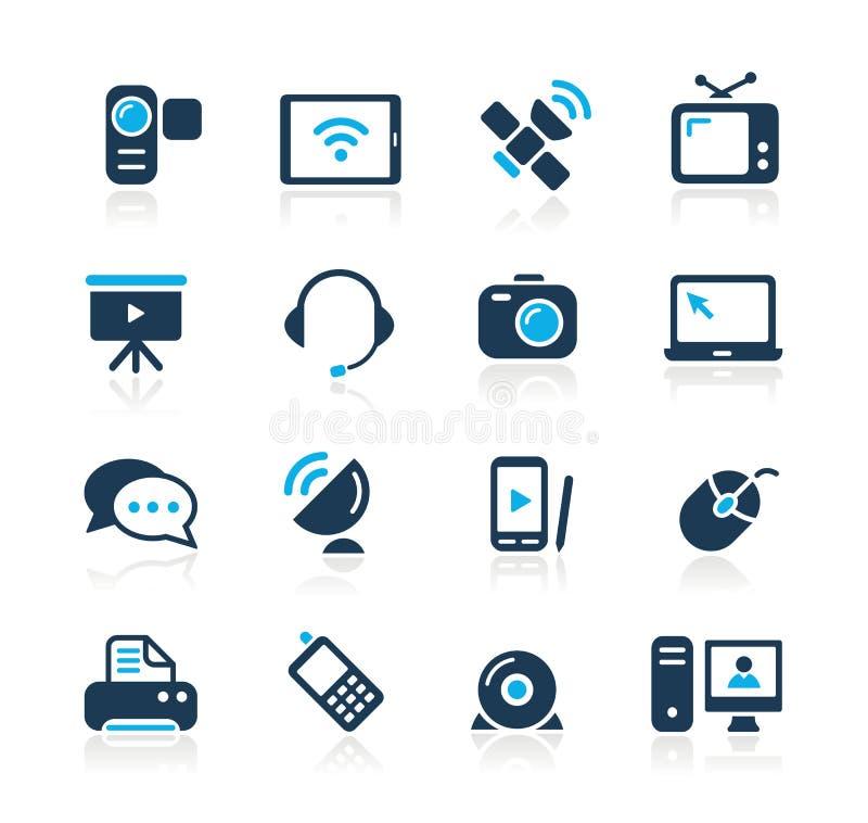 Download Communication Icons  // Azure Serie Stock Vector - Illustration of laptop, internet: 27105267