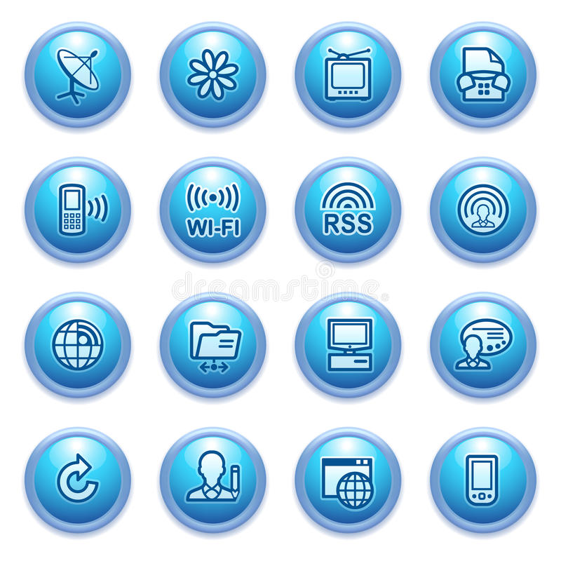 Communication Icons On Blue Buttons, Set 2. Stock Images