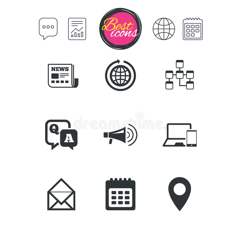 Communication icons. News, chat messages signs. stock illustration