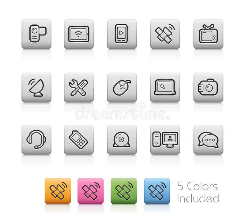Communication Icons -- Outline Buttons. Vector file includes each color in a layer. To see the desired color, you need to make it visible in the layer panel. EPS royalty free illustration