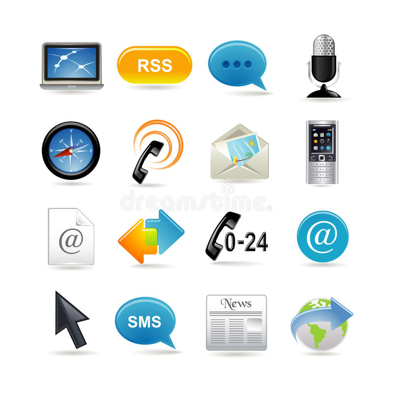 Download Communication icons set stock vector. Image of media - 13259022