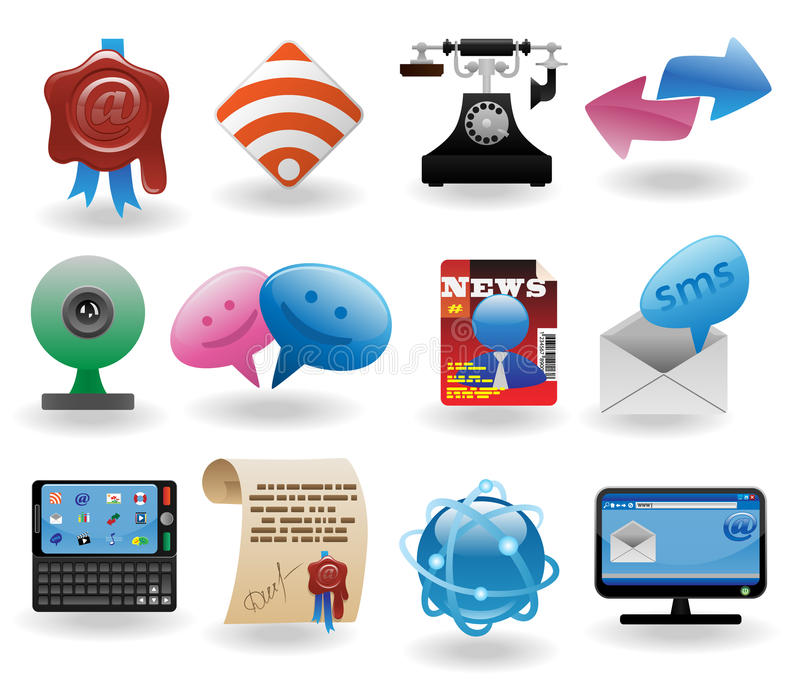 Download Communication icons set stock vector. Image of buttons - 17668990