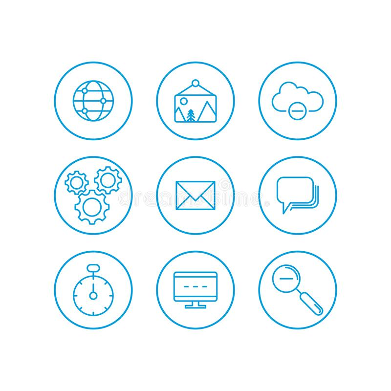 Communication icons set. Communication basic UI elements set. cloud, clock, gear, mail, picture, web, internet, footnote, search, royalty free illustration