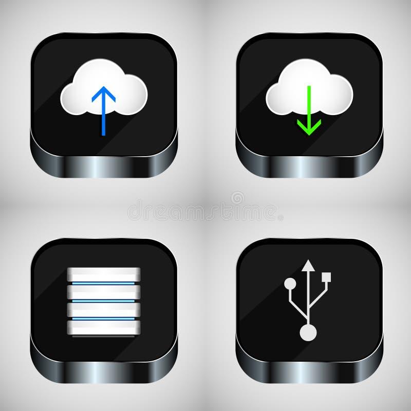 Communication icons. Set of communications icons. Cloud technology royalty free illustration