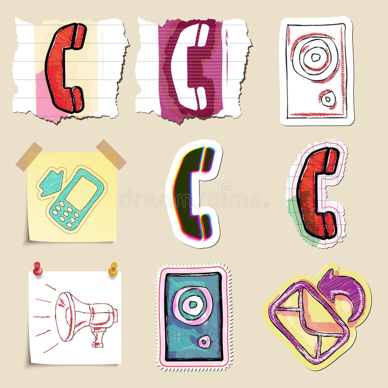 Communication icons set. Hand drawn and isolated. Stickers vector illustration