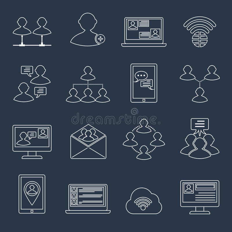 Communication icons set outline stock illustration