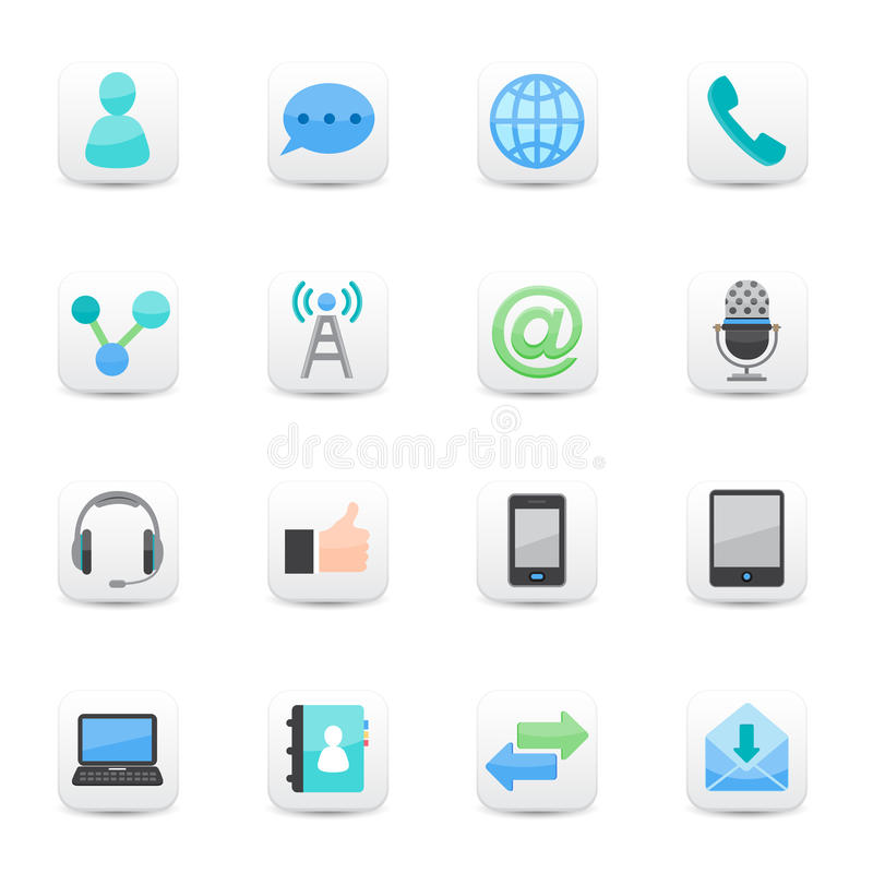 Download Communication Icons Set White Stock Vector - Image: 31979878