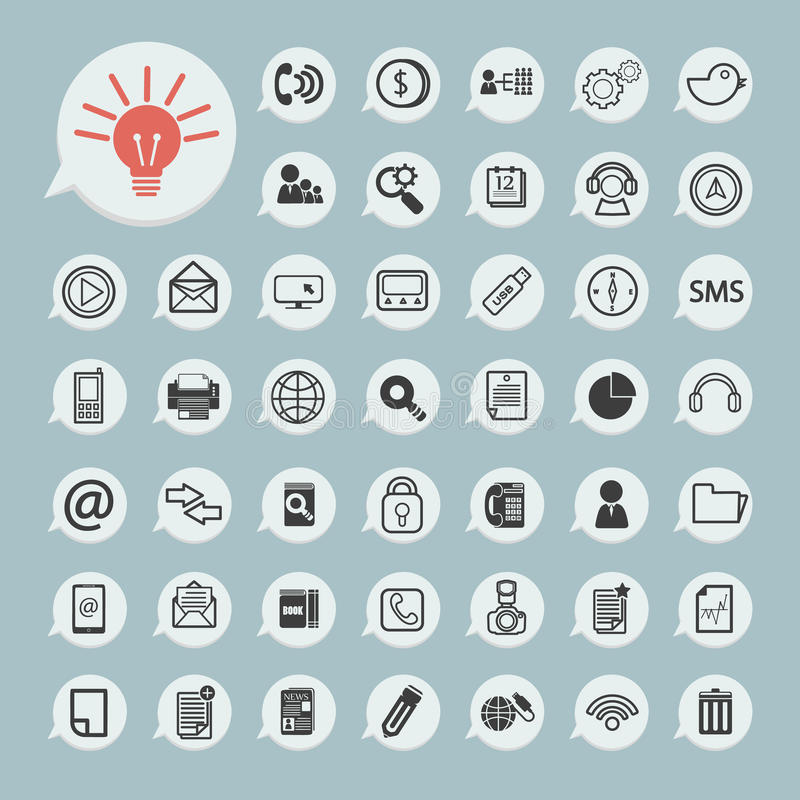 Communication icons and Technology Icon on blue paper. Eps.10 stock illustration