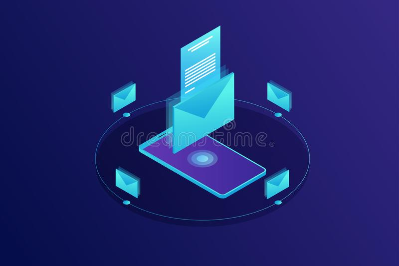 Mobile e-mail notification concept. Isometric vector illustration. Communication, information dissemination, sending email royalty free illustration