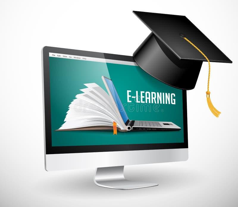 Communication informatique - apprentissage en ligne, éducation en ligne illustration stock