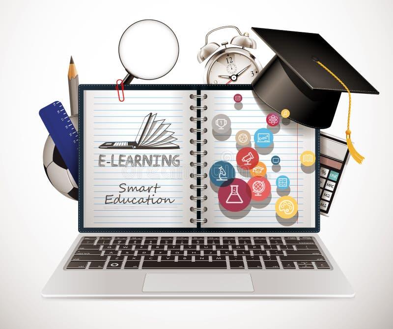 Communication informatique - concept d'apprentissage en ligne - réseau Internet comme base de connaissances illustration stock