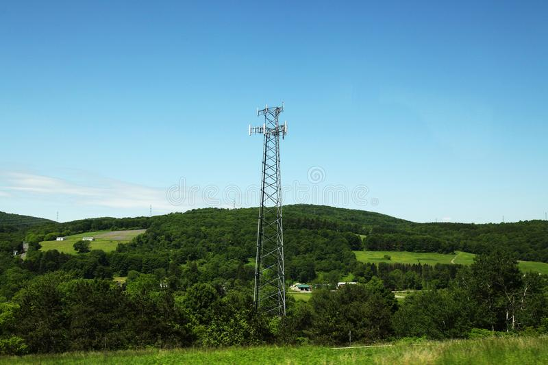 Communication iron pole in blue sky royalty free stock photos