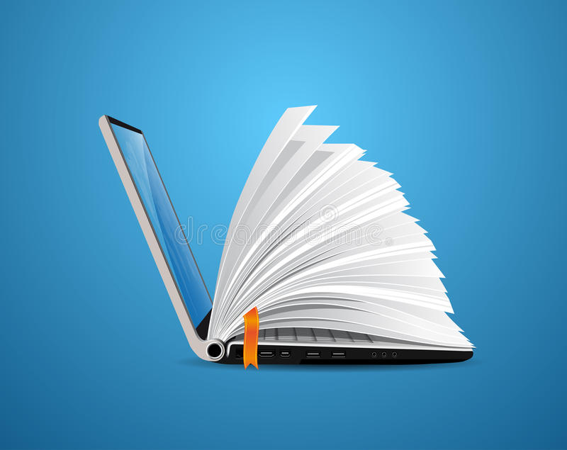 IT Communication - knowledge base, e-learning, e-book vector illustration