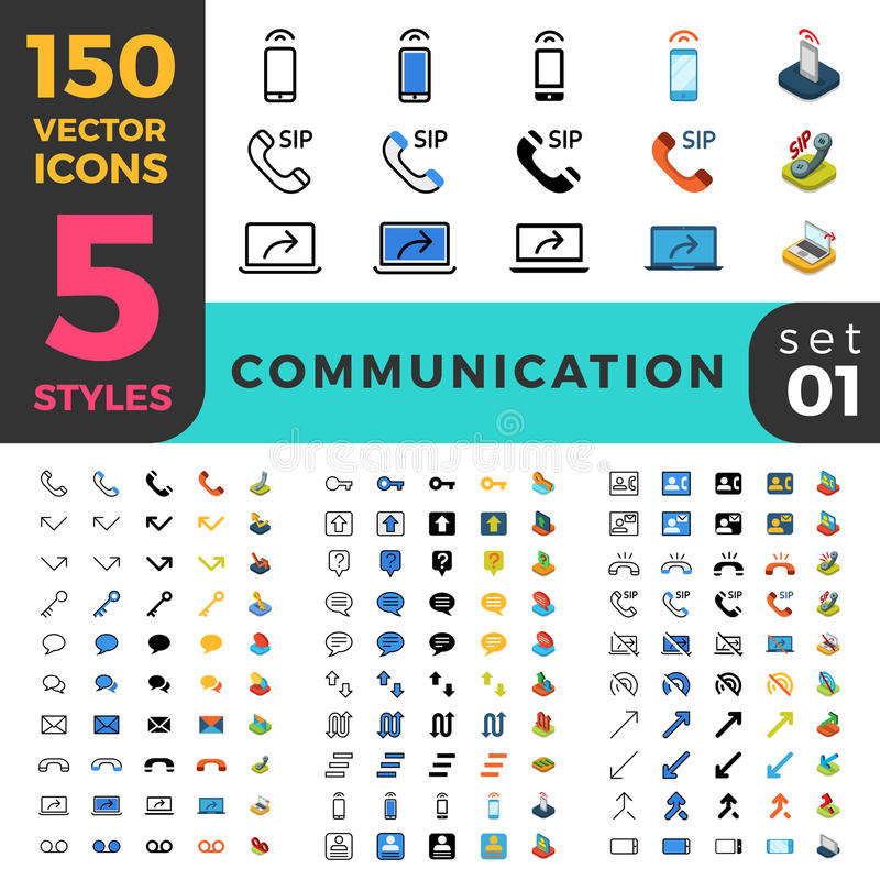 Communication 150 line flat isometric mobile web s. 150 Communication Chat Messaging ui icon set. Linear outline flat isometric 5 styles icons. Vector mobile app royalty free illustration