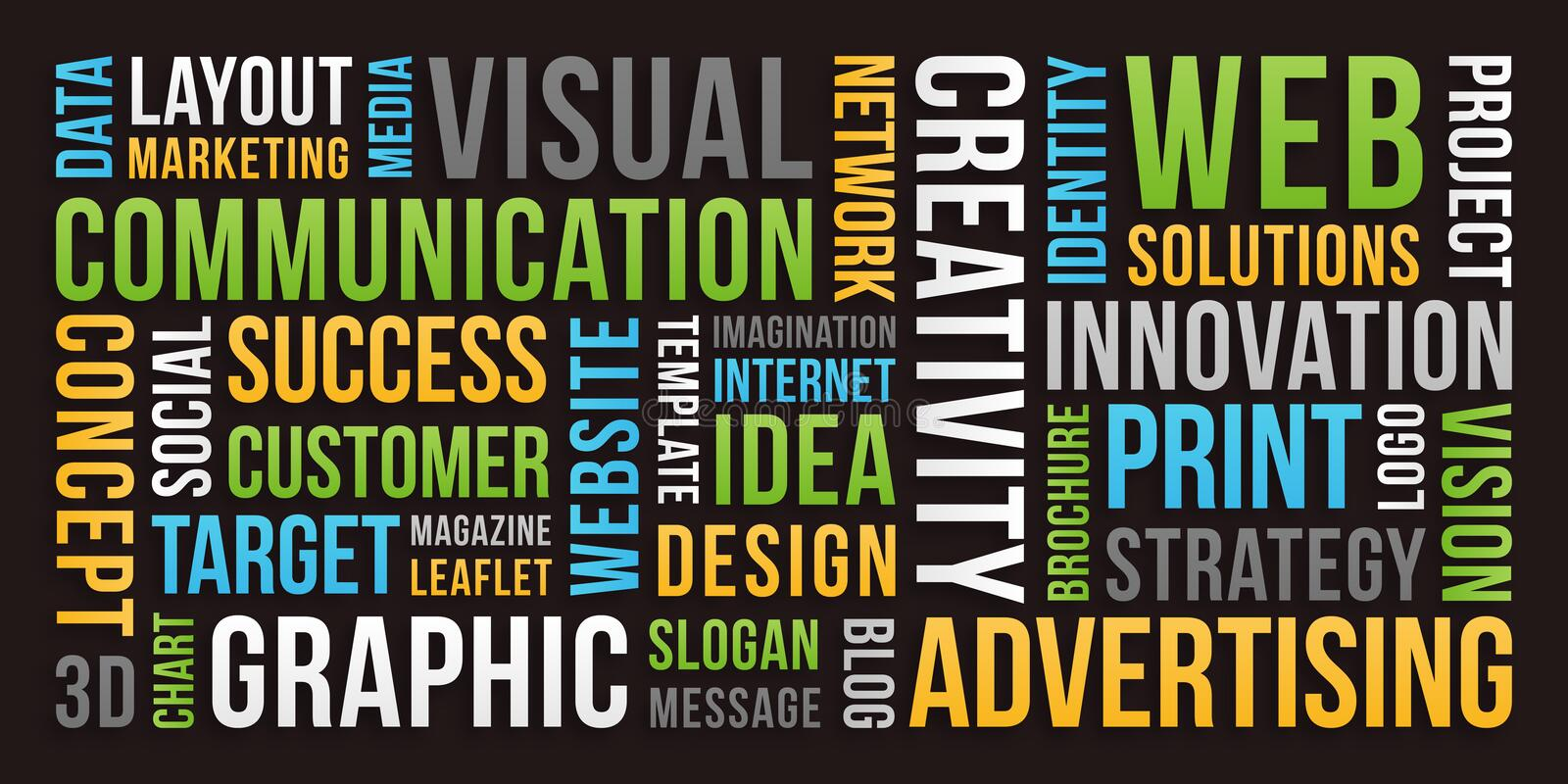 Communication and Marketing - Word cloud stock image